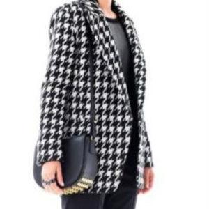 Houndstooth Black White sz M Loose Oversize Coat